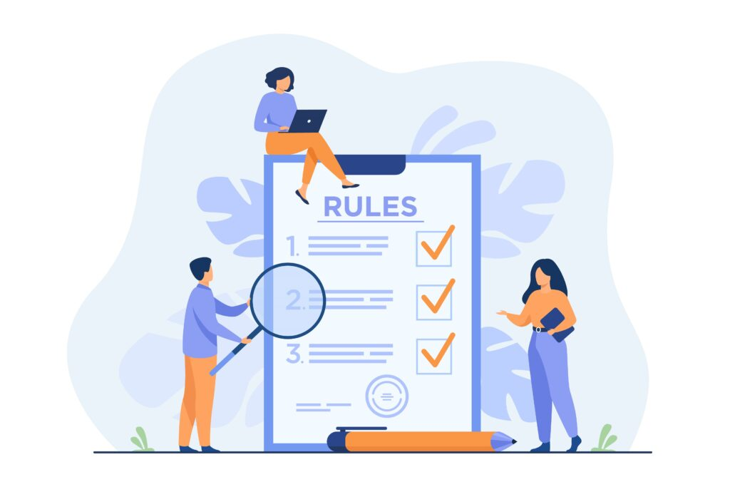 Business people studying list of rules
