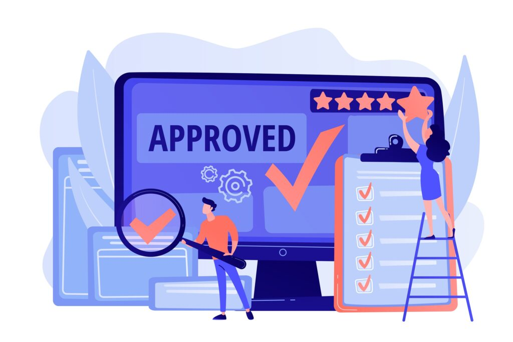 Approval mark. Product advantage. Rating and reviews. Meeting requirements. High quality sign, quality control sign, quality assurance sign concept.